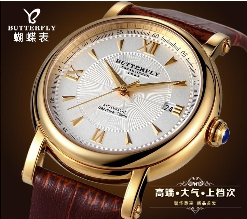Original Butterfly Brand Men Roman Dress font b Watch b font Automatic Business Calendar Wristwatch Real