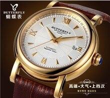 Original de La Mariposa Marca Vestido de Los Hombres Romanos Reloj Automático Calendario Reloj de Cuero Real de Negocios de Zafiro Relojes 3ATM NW1533