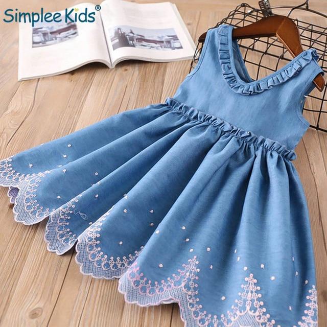 Girls Dresses Kids Princess Dress Elegant Ruffle V-neck Denim Dress Kids Clothes Embroidery Toddler Children Girls Suit Summer