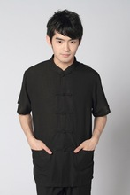 Chinese Tradtional Suit Mens Cotton Short-Sleeves Shirt and Pants Size M-3XL
