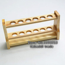 Wooden colorimetric tube rack 10ml * 6 hole thick wood wooden tube rack Laboratory export manufacturers hole diameter 18mm