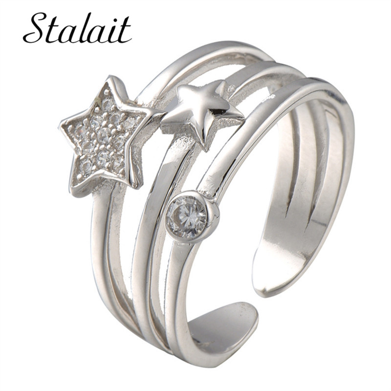 Wedding Crystal Silver Color Rings Multilayer Star Cubic Zircon Ring Fashion Women Promi ...