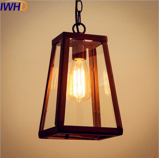 IWHD Glass Box Style Loft Industrial Pendant Lighting Dinning Room LED Edison Vintage Light Lamp Lamparas De Techo Luminaire 2pc rustic loft style industrial vintage lamp dinning room retro pendant lights fixtures led edison home lighting lamparas