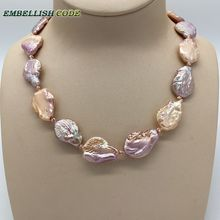 charm baroque pearls necklace peach purple Good gloss big size red golden beads for women flat oval shape natural cultured pearl недорого