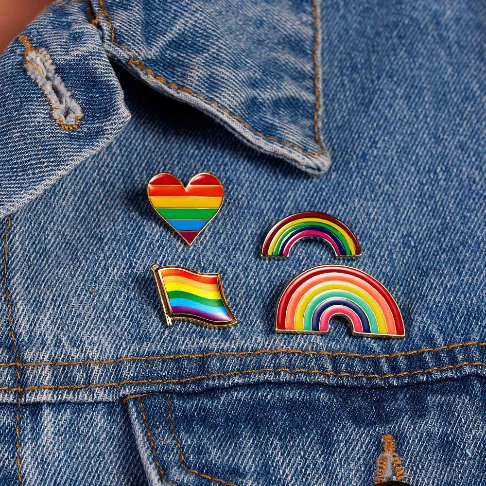Rinhoo LGBT Design Rainbow Pin Brooch Woman Cartoon Mini Rainbow Brooches Pins Badge Collar Jewelry Gift