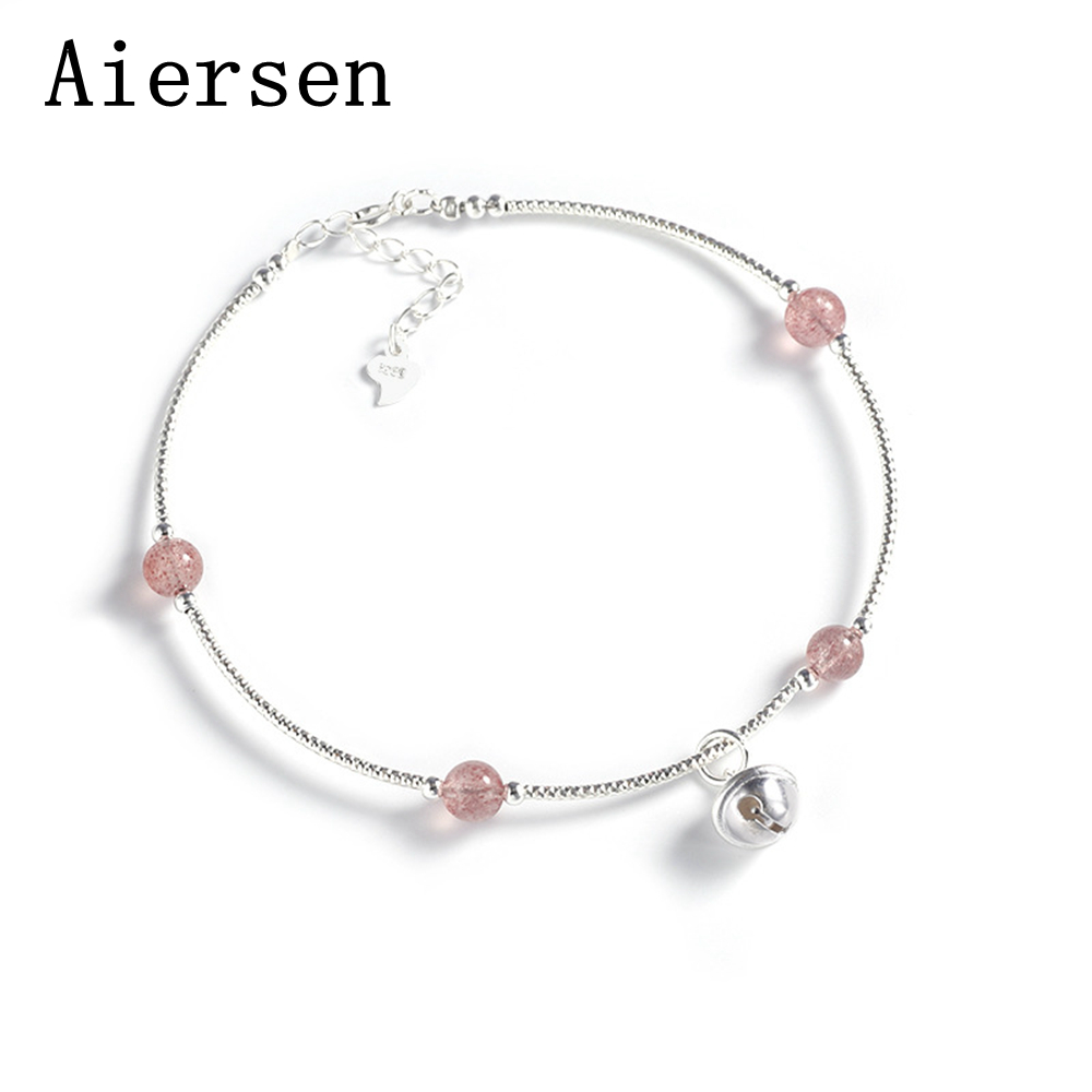 100% 925 Sterling Silver Bell Strawberry Crystal Beaded Charm Ankle for Women Summer Lady Fashion Ankle Girls Cute Gift