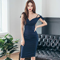 2016 Korean  Fashion Sexy V-neck Female Dress New Arrival Summer Solid Tight Slim Sleeveless with Bow Elegant Dress 791D 30