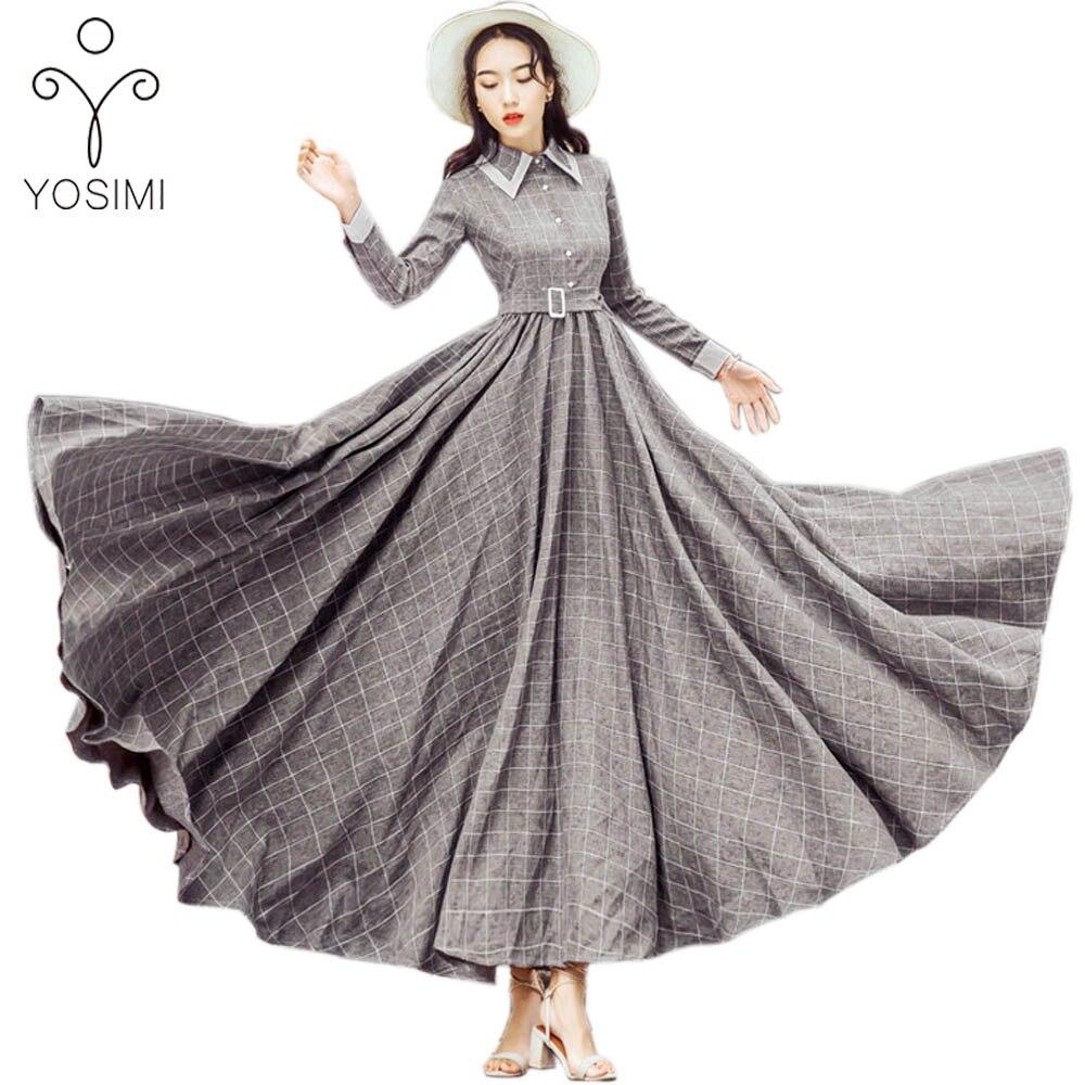Kadın Giyim'ten Elbiseler'de YOSIMI 2019 Sonbahar Kış Maxi Vintage Ekose Uzun Kadın Elbise Yün Gri Gömlek Elbiseler Kadın Vestidos Akşam parti giysileri'da  Grup 1