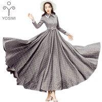 YOSIMI 2017 Autumn Winter Maxi Vintage Plaid Long Women Dress Woolen Gray Shirt Dresses Female Vestidos Evening Party Costumes