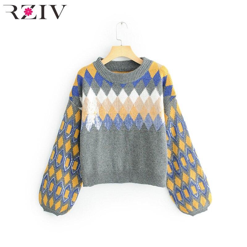 RZIV autumn and winter women casual sweater round neck lantern sleeve sweater diamond pattern