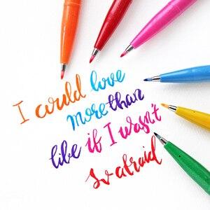 Image 3 - 12colors Japan Pentel Touch Brush Pen Set Color Calligraphy Pens Lettering Pennarelli Bullet Journal Supplies Felt Tip Sign Pens