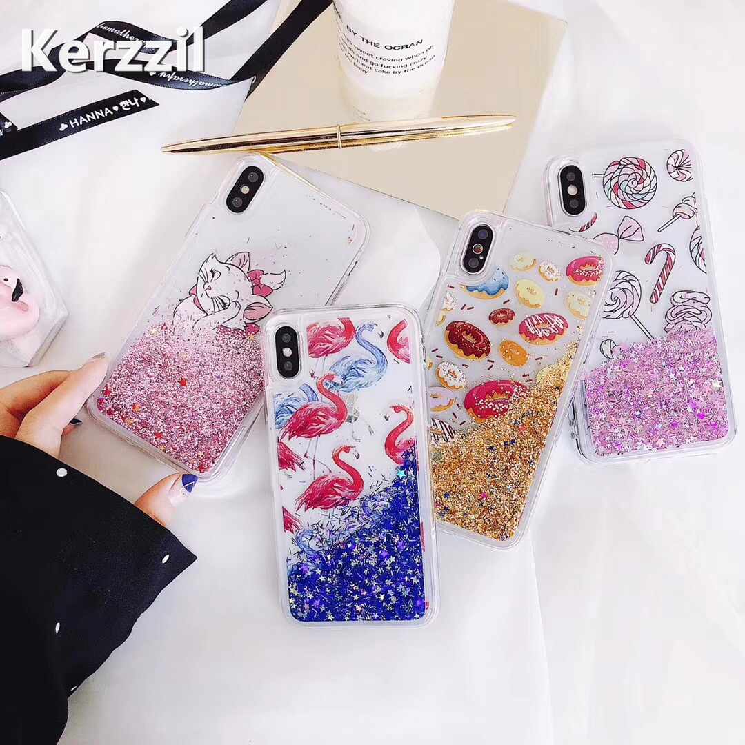 Kerzzil Flamingo Quicksand Phone Case For iPhone X 6 6S 7