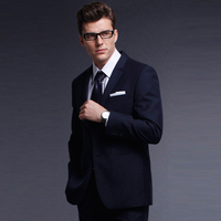 2017 Fall Winter Pure Wool Men S Plain Color Dark Navy With Faint Herringbone Business Formal