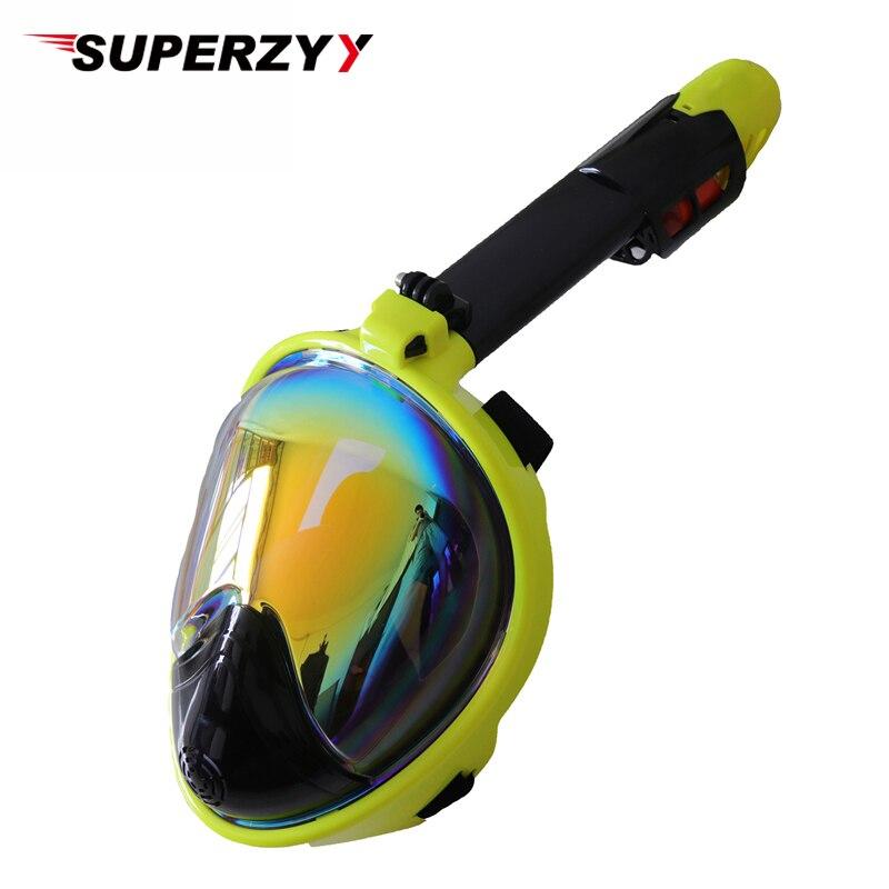 2018 nueva máscara de buceo bañada máscara de buceo subacuática Anti niebla cara completa Snorkeling máscara mujeres hombres natación Snorkel equipo de buceo