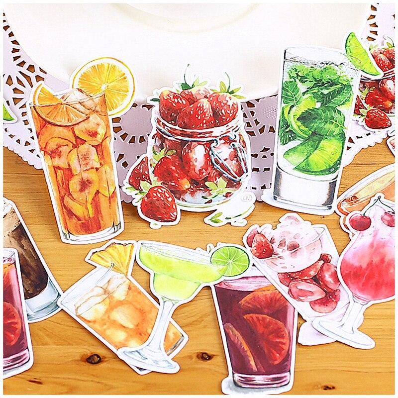 14pcs Creative Cute Self-made Colorful Fruit Tea / Drinks Scrapbooking Stickers /Decorative Sticker /DIY Craft Photo Albums