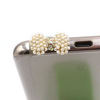 Elegance Fashion Style Small Pearl With Diamond Bow Design Mobile Phone Ear Cap Dust Plug For Iphone Samsung 3.5mmDustPlug