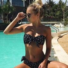 Push Up Polka Dot Bandeau Beach Wear