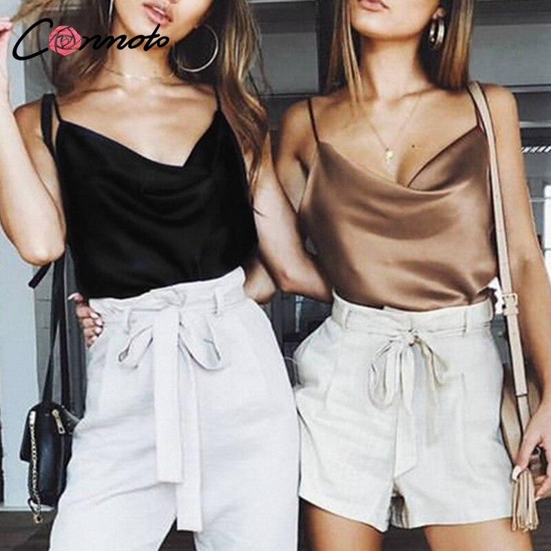 Conmoto Club de Mujeres, volver a la parte superior de la correa de espagueti de verano estampados camisas sin respaldo sólido Sexy Casual básica Tops Plus tamaño