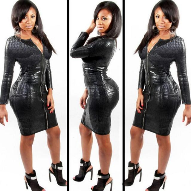 30eb0b21a6 For Women Faux Leather Bodycon Dress 2018 Spring Ladies PU Snake Women's  Dresses Long Sleeve Sexy V Neck Party Clubwear
