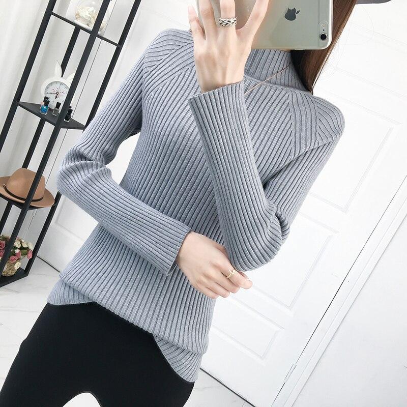 Knitting Sweater Women Pullover Long-Sleeve High-Collar Autumn Winter New Half Women's