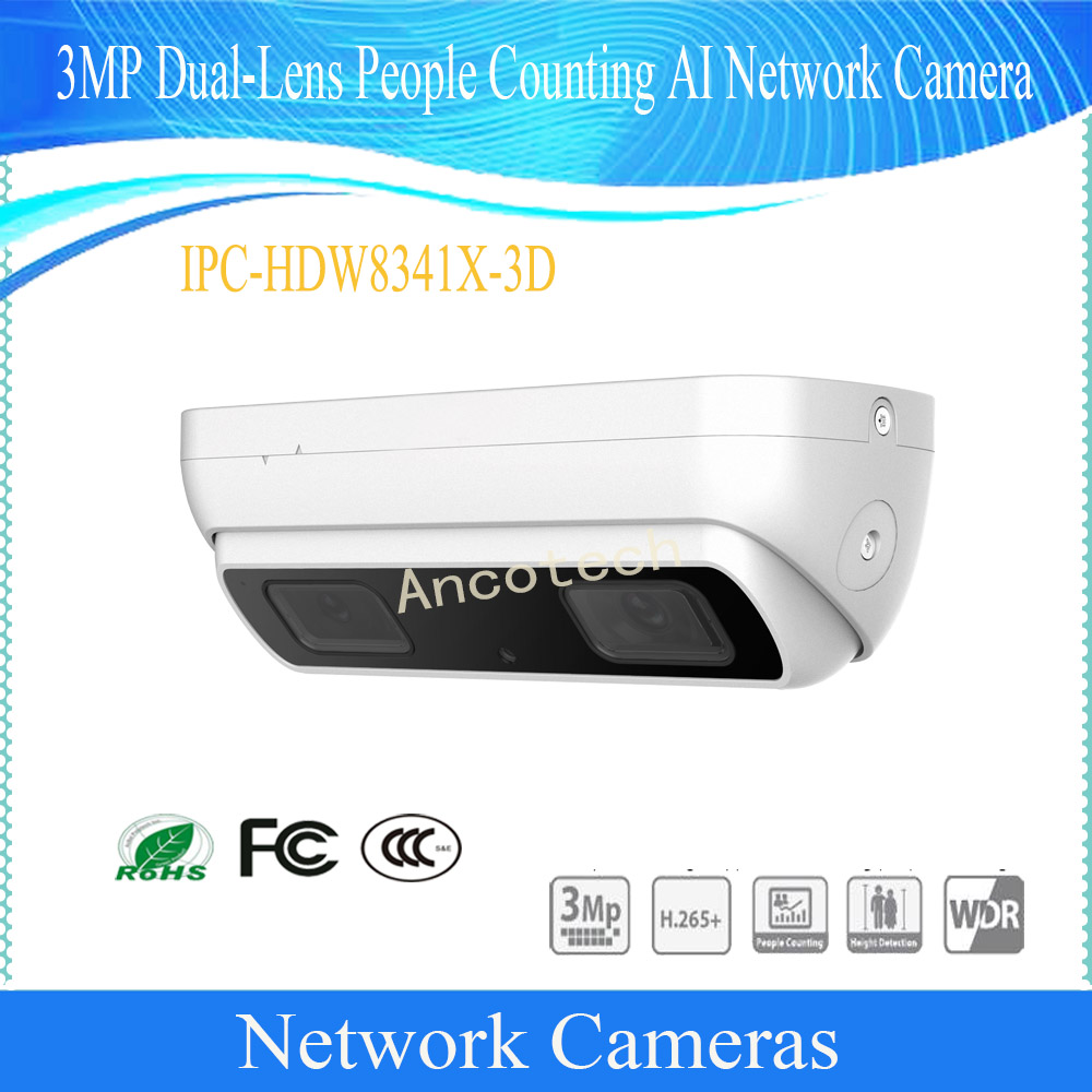 DH-IPC-HDW8341X-3D Frete Grátis DAHUA CCTV IP Câmera Intelligen 3MP Dual-Lente Artificial Contagem de Pessoas AI Câmera de Rede POE