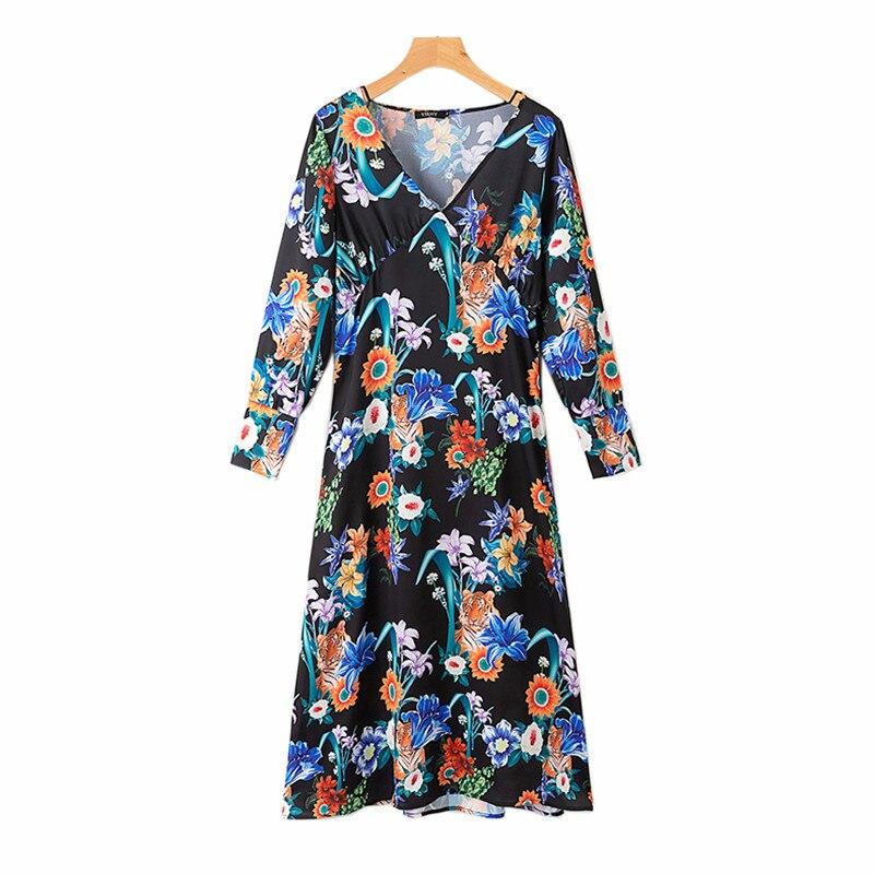 Robe à fleurs pour femmes col en v élégant été européen Vintage graphique à manches longues fendue longue robe femme Vestido SP563