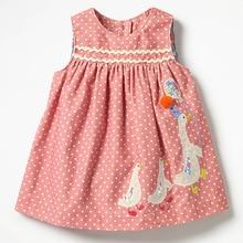 Little maven kids brand clothes autumn baby girls Cotton pink dot sundress girl sleeveless duck applique dresses Q0057