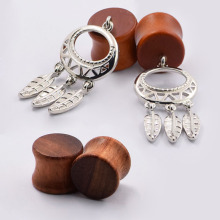 2pair Ear Tunnels Plugs Wood Earlet Stretcher Plug Ear Skin Expanders font b Earrings b font