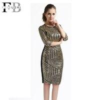 FEIBUSHI Golden Sequin Dresses Bodycon Women Geometric Lace Dresses Big Size Backless Sequin Dress Half Sleeve Slim Club Dress