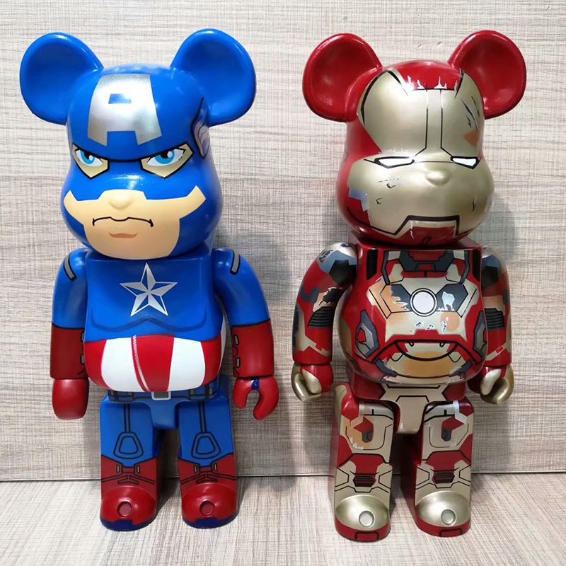 28cm 400% Bearbrick Bear@brick Action Figures Cosplay Super Hero Iron Man Captain America PVC Model Children Gifts Printed Dolls