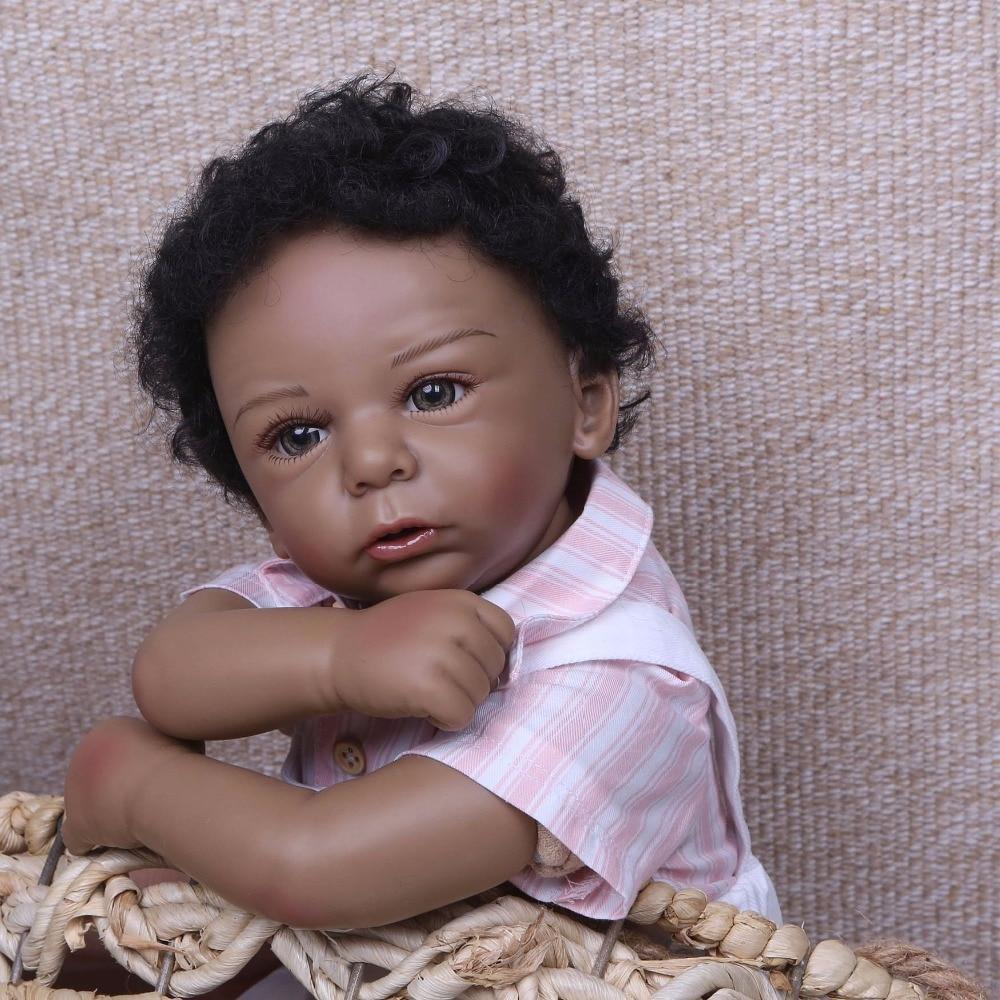 "Ethnic black Doll reborn 20""50cm silicone reborn baby dolls lifelike newborn boy dolls for child gift bebes reborn menino"