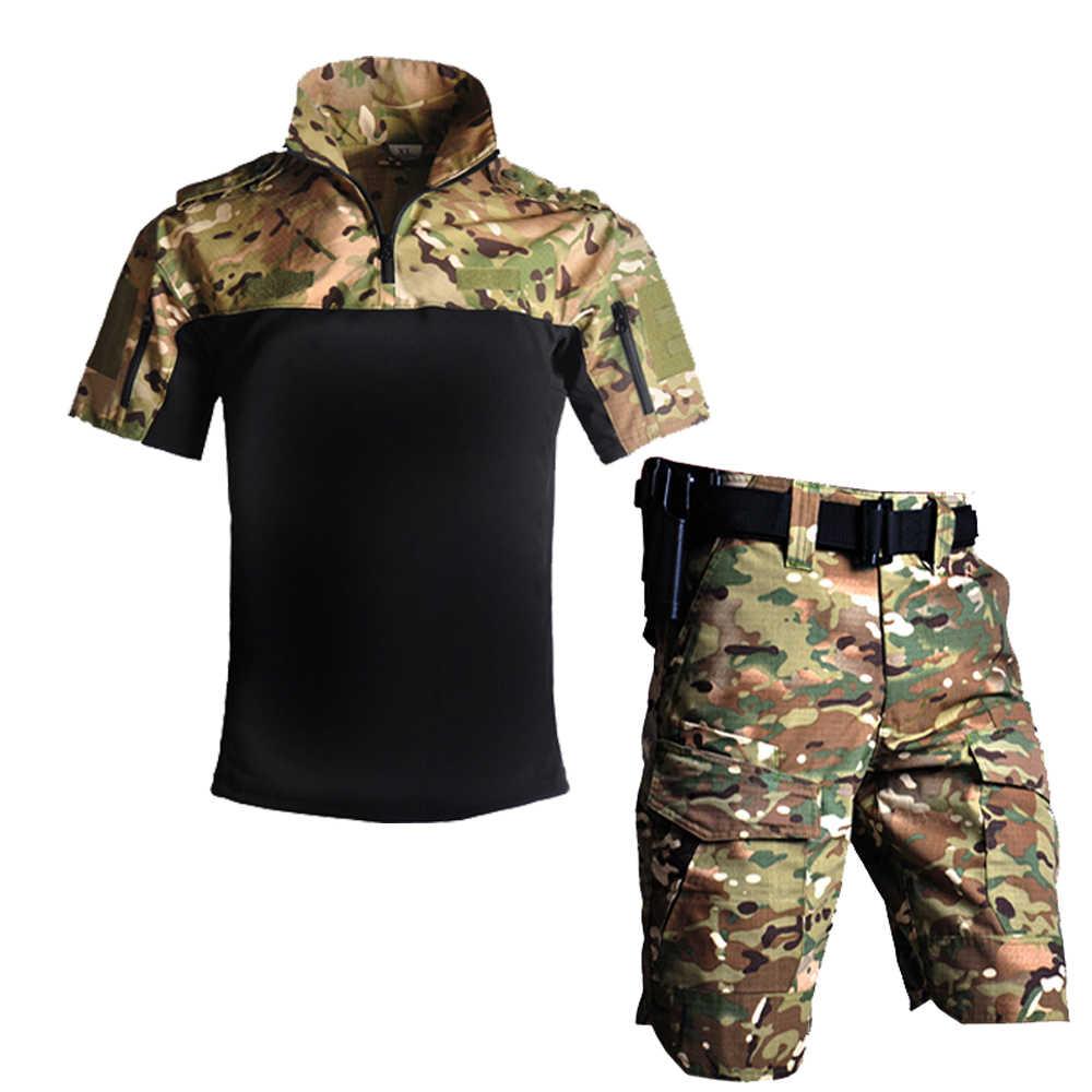 MultiCam CP Seragam Militer Kamuflase Suit Tatico Militer Airsoft Paintball Peralatan Musim Panas Outdoor Taktis Pendek Set