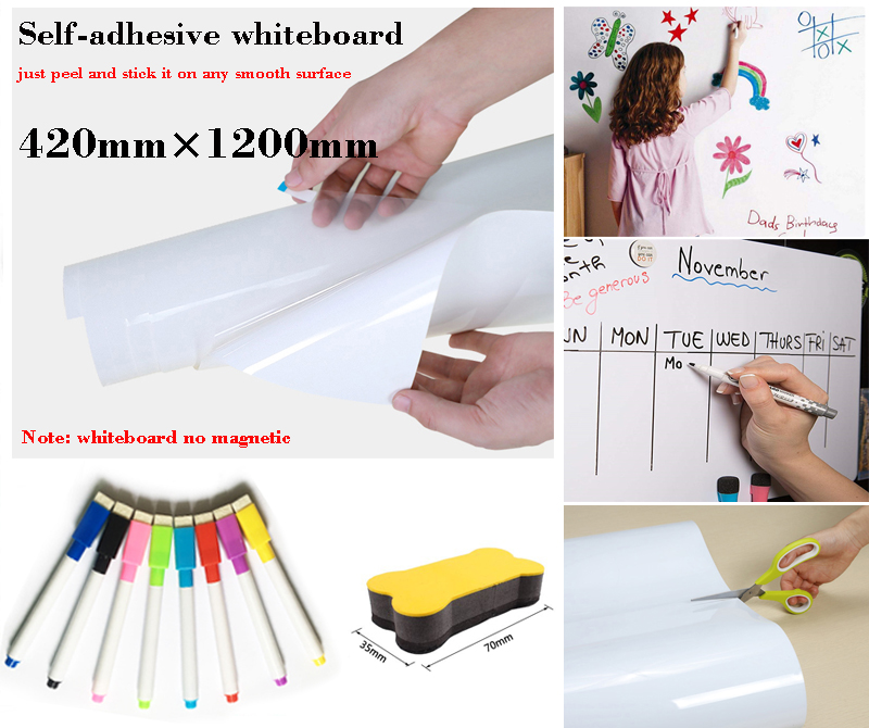 Elf-Adhesive Whiteboard Dry Erase Message Board Memorandum Presentation Boards Fridge Sticker White Board Gift 8 Pen 1 Eraser