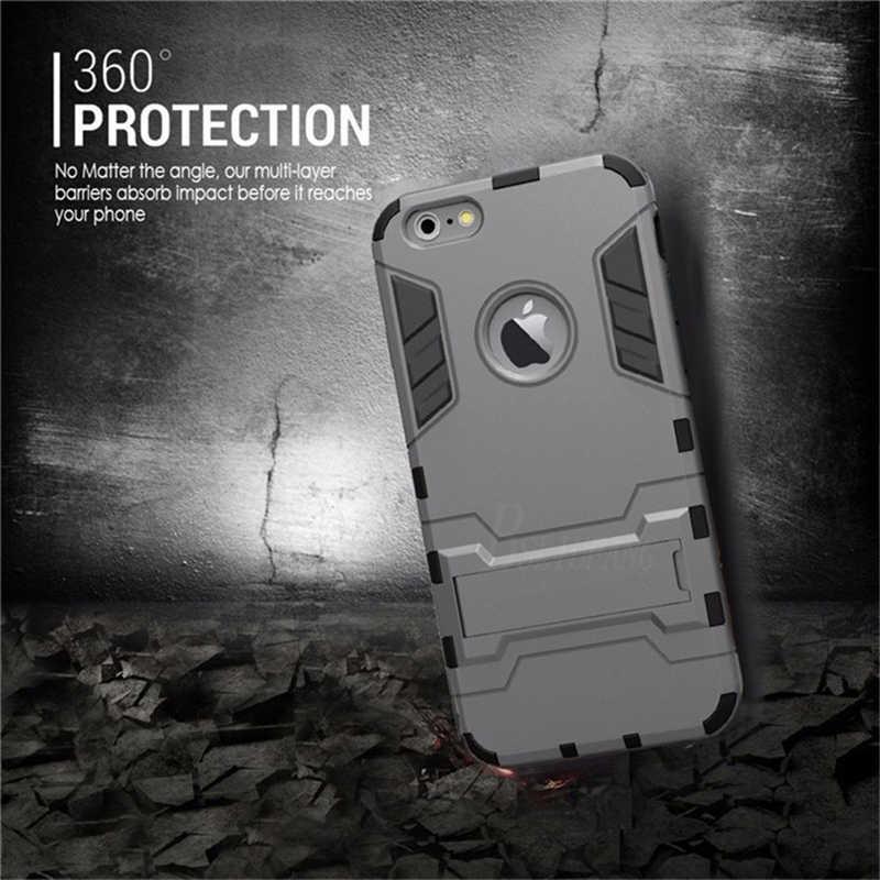 יוקרה שריון מחזיק טלפון Stand מקרה עבור iphone 7 8 6 6 S בתוספת היברידי TPU + קשיח מחשב עמיד הלם כיסוי עבור iphone X XR XS מקסימום מקרה