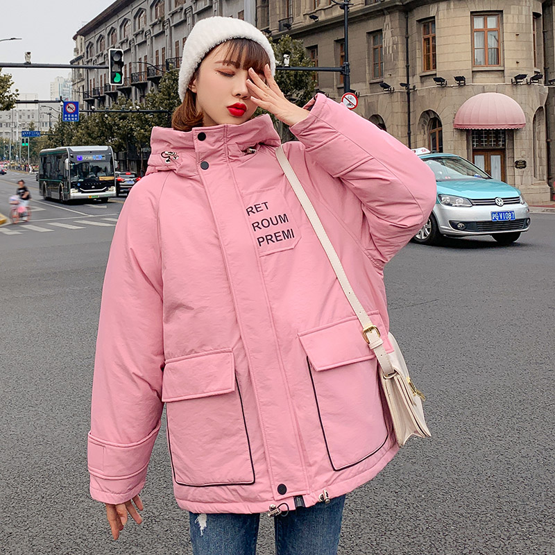 Women winter mid-long   parkas   jacket 2019 New Thick warm hooded letter printed jacket Casual solid sweet jackets for female