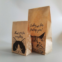 100 Pcs Kraft Paper Bag Gift Cat Candy Cookies Wedding Packing Bag Birthday Party Favors Small Paper Gift Packaging Goodie Bags цена и фото
