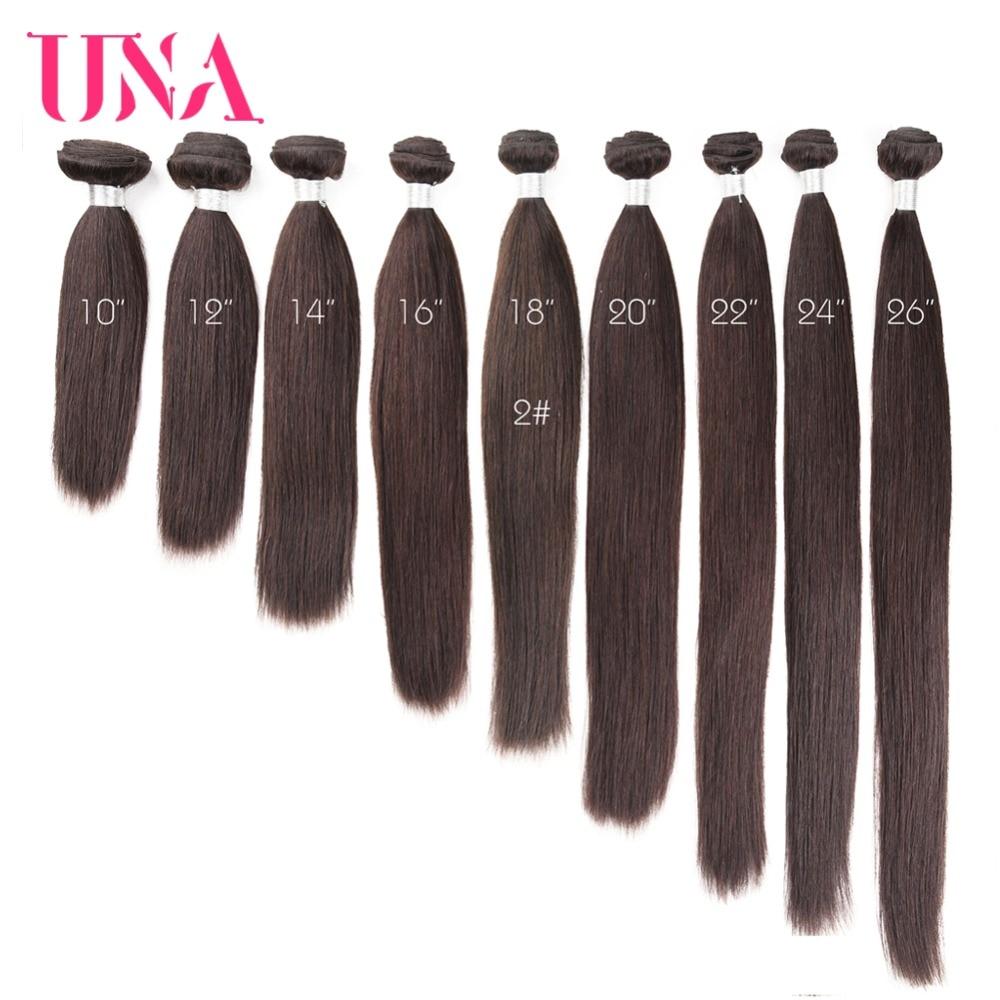 UNA Brazilian Hair Weaves 1 Piece # 2 Brasilian Straight Non-Remy - Mänskligt hår (svart) - Foto 6