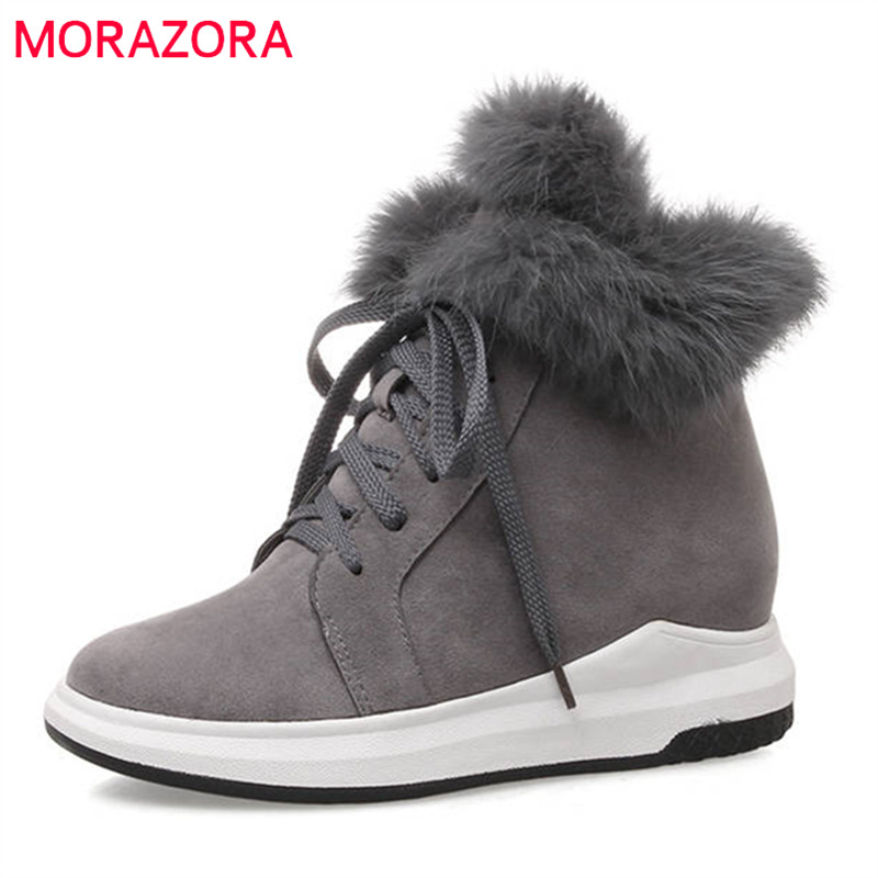 MORAZORA 2018 newest ankle boots for women flock round toe lace up boots warm winter snow boots comfortable flat shoes woman цена