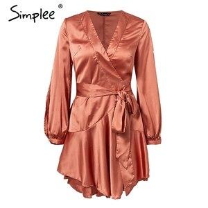 Image 4 - Simplee Ruches v hals sash vrouwen jurk Flare mouw hoge taille sexy satijnen jurk Herfst winter rode wrap casual dress 2018