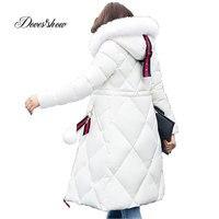 Solid Color Long Women Winter Jacket Women Fashion Padded Coat Hooded Fur Collar Overcoat Women Parka