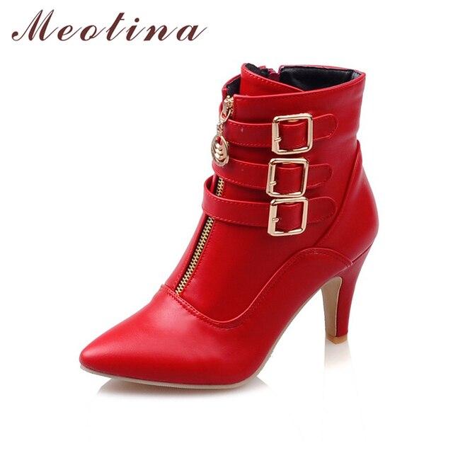 Meotina 靴女性ブーツ春ハイヒールアンクルブーツポインテッドトゥバックル女性のブーツ女性の靴白ビッグサイズ 44 45 11