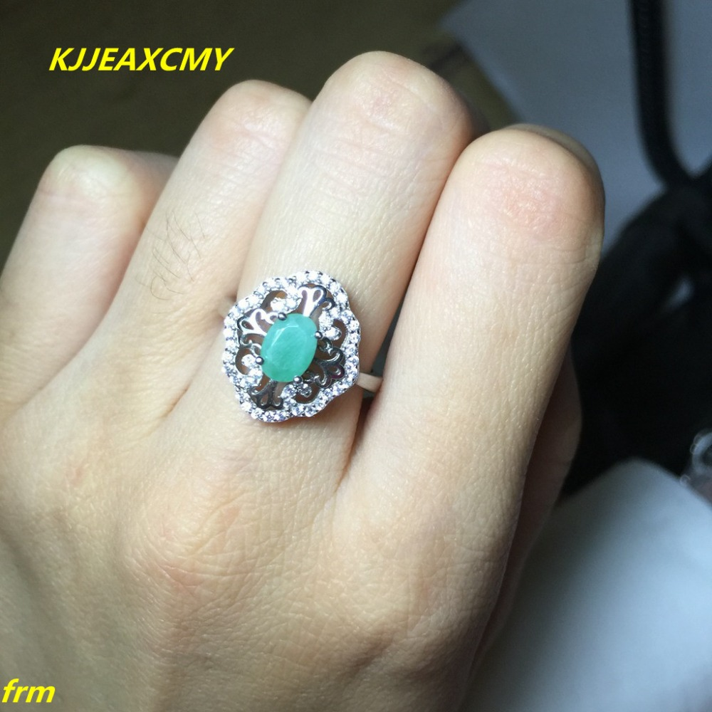 KJJEAXCMY Fine jewelry 925 sterling silver inlaid natural emerald ring wholesale 1 carat live support identification недорго, оригинальная цена
