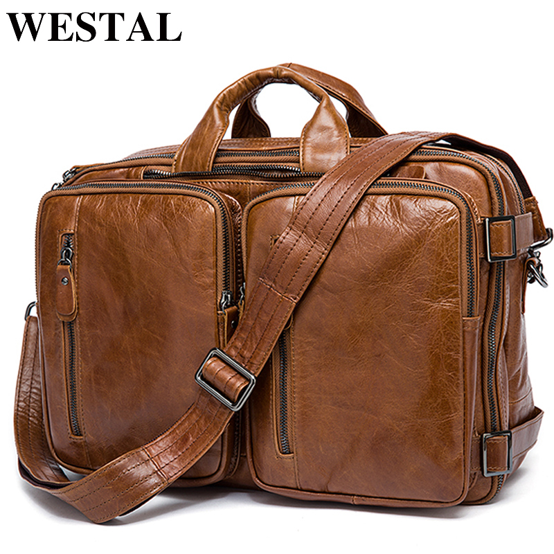 WESTAL Briefcase Totes Laptop-Bags Messenger-Bag Genuine-Leather Men's Male