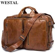 WESTAL serviette en cuir pour hommes, sac de messager en cuir véritable, sac de bureau, fourre tout, sac sacs pour ordinateur portable