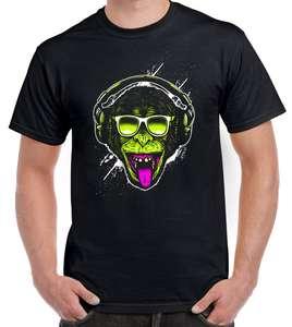 c24981eaa8d Funky Monkey DJ Men s T-Shirt - Monkeys Clubbing Ibiza House Music Shirts  Summer Short Sleeve Novelty