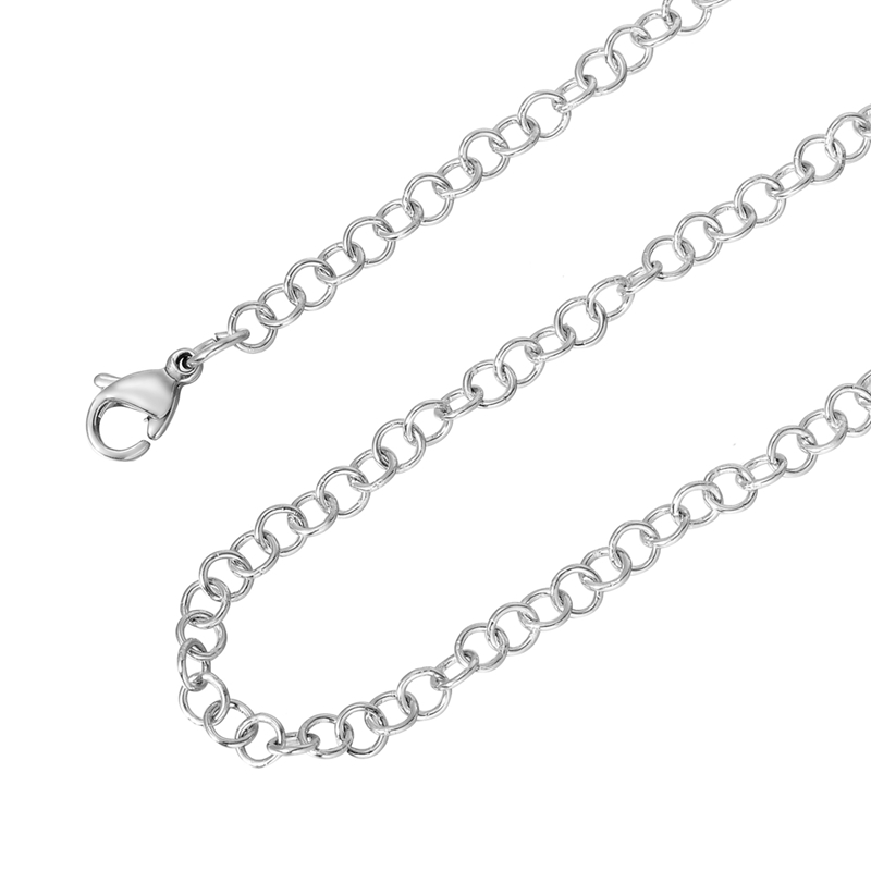 MJARTORIA 2PCs Silver Color Stainless Steel Link Chains Necklaces Simple Cahins For Fashion Neklaces DIY Accessories For Jewelry