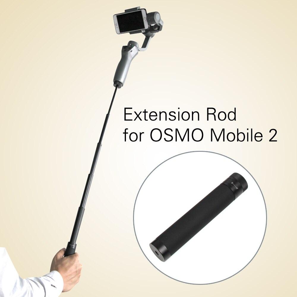 Extensión varilla de palo de polo escalable soporte para DJI OSMO Mobile 2/zhiyun suave Q 4 teléfono inteligente mano cardán Accesorios