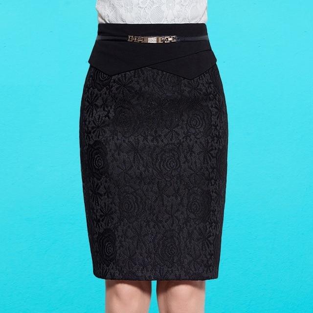 2016 New Autumn Women Pencil Skirts Casual Black Knee Length Skirt Lace Skirts Plus Size 5XL High Waist Office Skirt B80021