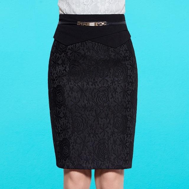 2016 Nueva Otoño Mujeres Faldas Lápiz Negro Ocasional Hasta La Rodilla falda Faldas de Encaje Más El Tamaño 5XL Oficina de Cintura Alta Falda B80021