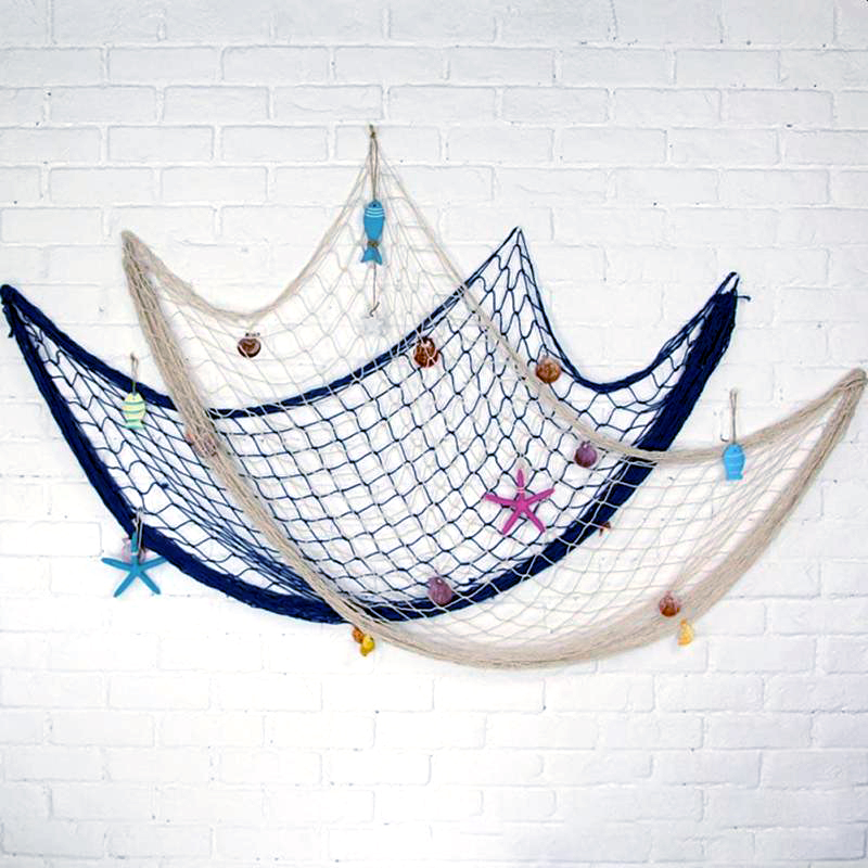 Fish Net Hanging Ornaments Mediterranean Style 3D Nautical Ocean Theme Home Fishing Net Wall Decor Marine Hanging Props #R